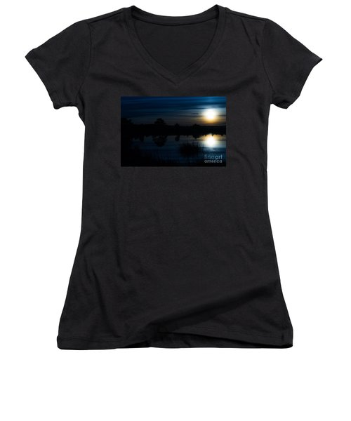 Cold Winter Morning Women's V-Neck T-Shirt (Junior Cut) by Angela DeFrias