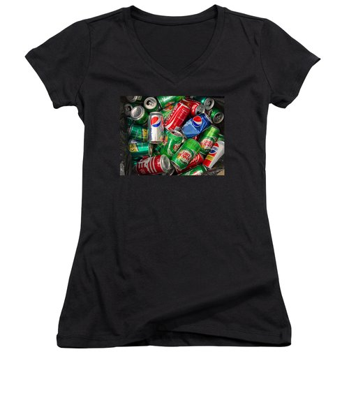 Women's V-Neck T-Shirt (Junior Cut) featuring the photograph Collection Of Cans 02 by Andy Lawless