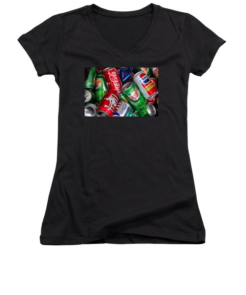 Women's V-Neck T-Shirt (Junior Cut) featuring the photograph Collection Of Cans 04 by Andy Lawless