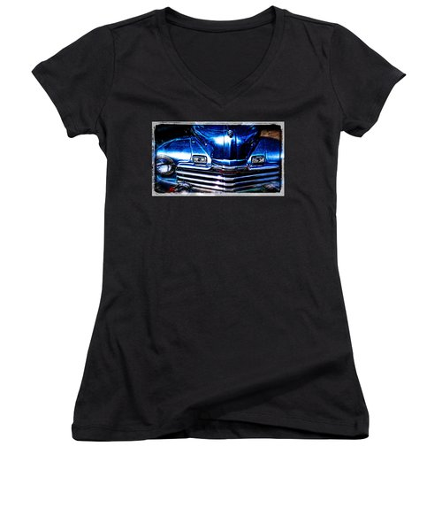Women's V-Neck featuring the photograph The Monarch Collector Vehicle by Roxy Hurtubise