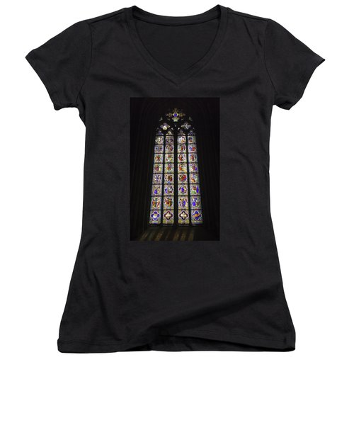Cologne Cathedral Stained Glass Life Of Christ Women's V-Neck