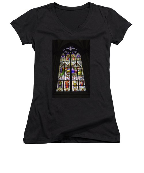 Cologne Cathedral Stained Glass Window Of Pentecost Women's V-Neck