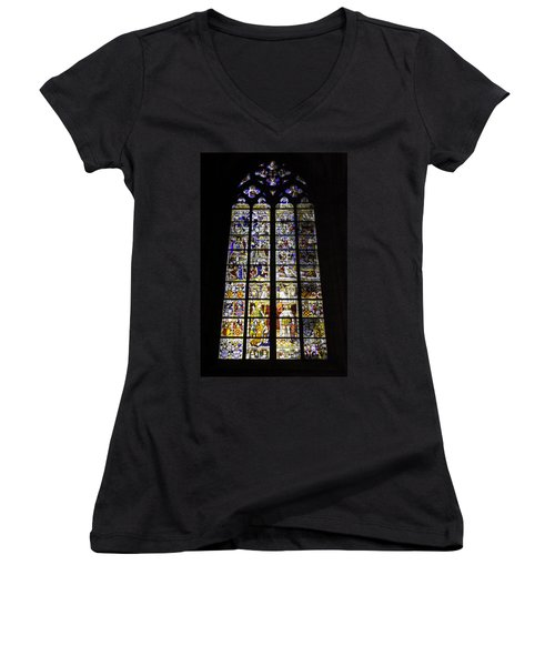 Cologne Cathedral Stained Glass Window Of St Peter And Tree Of Jesse Women's V-Neck