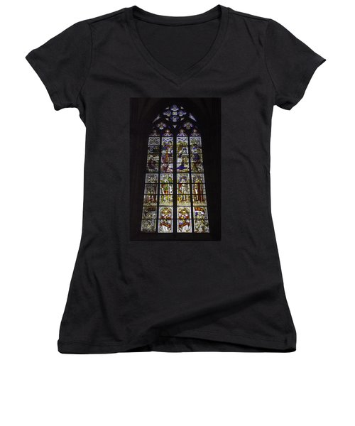 Cologne Cathedral Stained Glass Window Of The Nativity Women's V-Neck