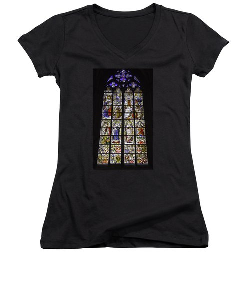 Cologne Cathedral Stained Glass Window Of The Three Holy Kings Women's V-Neck