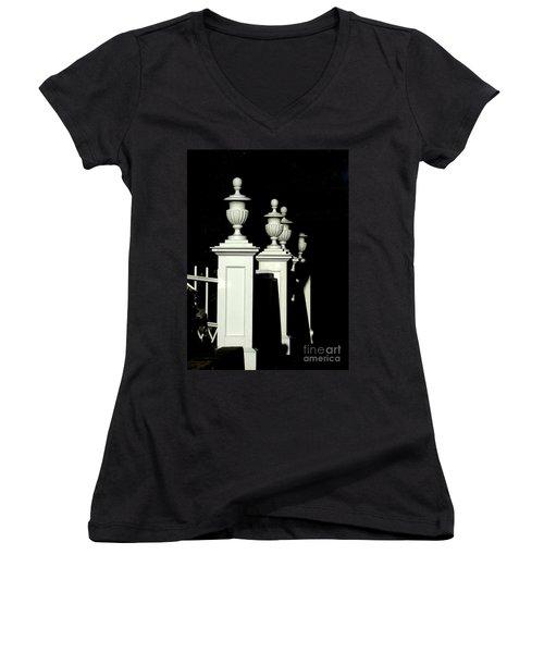 Colonial Fence Women's V-Neck T-Shirt (Junior Cut) by Marcia Lee Jones