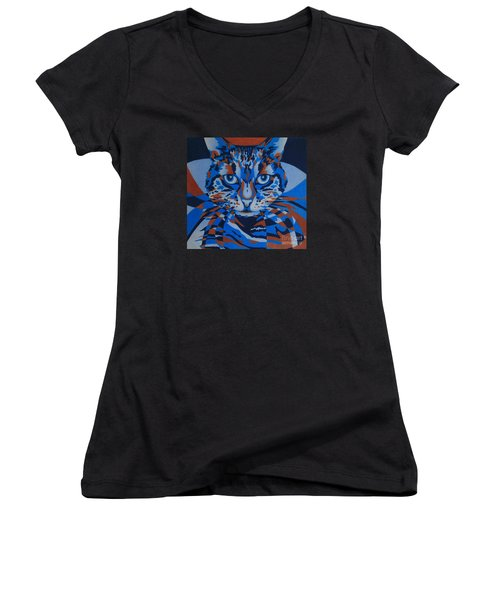 Women's V-Neck T-Shirt (Junior Cut) featuring the painting Color Cat IIi by Pamela Clements