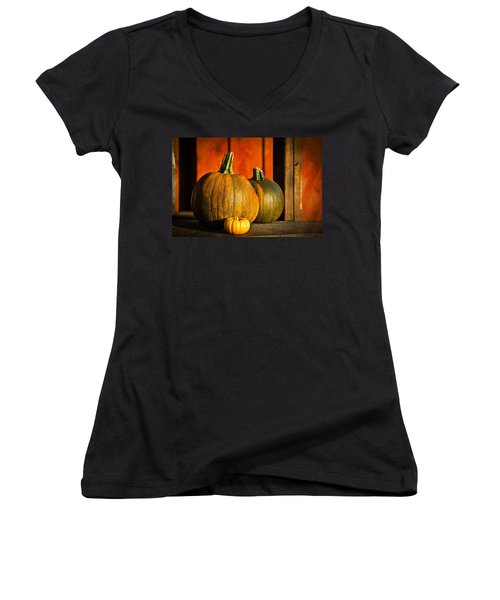 Aaron Berg Photography Women's V-Neck T-Shirt (Junior Cut) featuring the photograph Color Of Fall by Aaron Berg