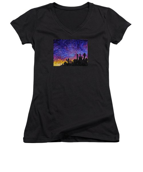 Color Of The Sky Part1 Women's V-Neck T-Shirt (Junior Cut) by Felix Concepcion