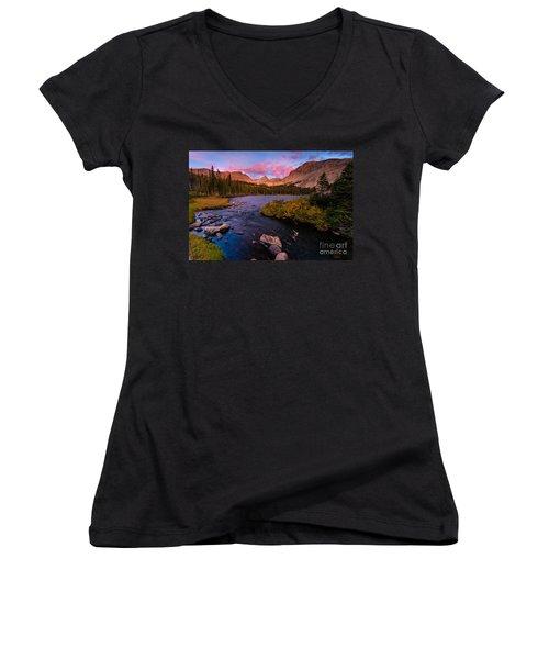 Color Over  Indian Peaks Women's V-Neck T-Shirt (Junior Cut) by Steven Reed