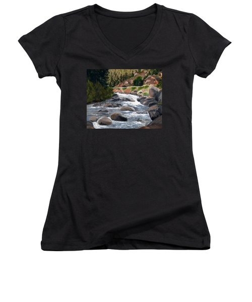 Women's V-Neck T-Shirt (Junior Cut) featuring the painting Colorado Rapids by Jamie Frier