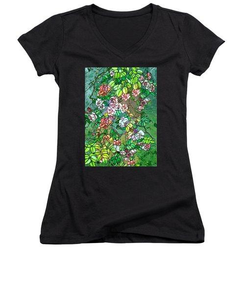 Colored Rose Garden Women's V-Neck