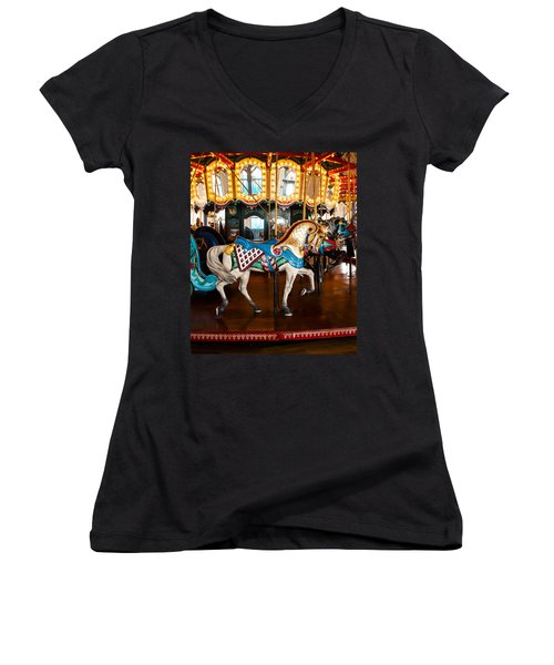 Women's V-Neck T-Shirt (Junior Cut) featuring the photograph Colorful Carousel Horse by Jerry Cowart