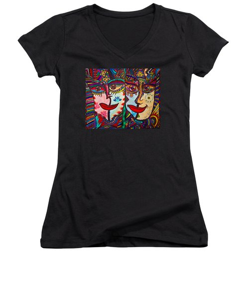 Colorful Faces Gazing - Ink Abstract Faces Women's V-Neck (Athletic Fit)