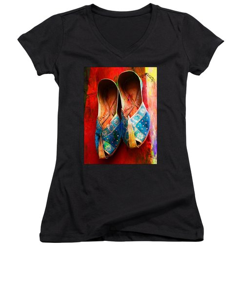 Colorful Footwear Juttis Sales Jaipur Rajasthan India Women's V-Neck T-Shirt
