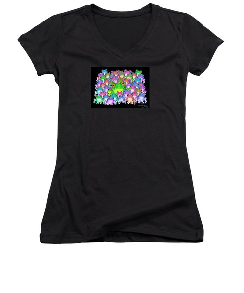 Colorful Froggy Family Women's V-Neck (Athletic Fit)