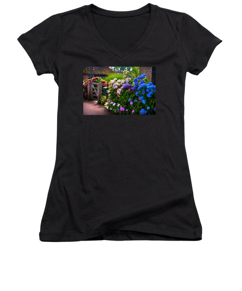 Colorful Hydrangea At The Gate. Giethoorn. Netherlands Women's V-Neck