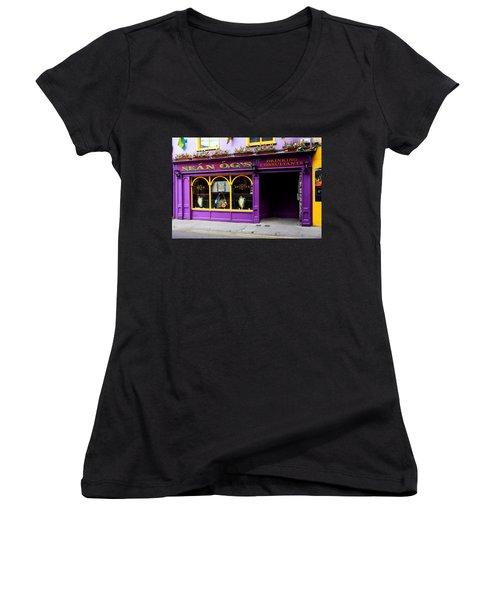 Colorful Irish Pub Women's V-Neck T-Shirt (Junior Cut) by Aidan Moran