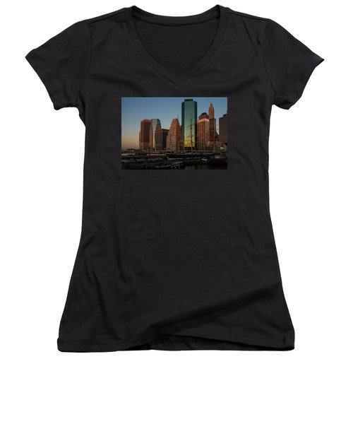 Women's V-Neck T-Shirt (Junior Cut) featuring the photograph Colorful New York  by Georgia Mizuleva