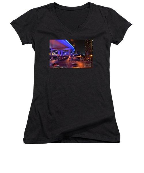Colorful Night Traffic Scene In Shanghai China Women's V-Neck T-Shirt (Junior Cut) by Imran Ahmed
