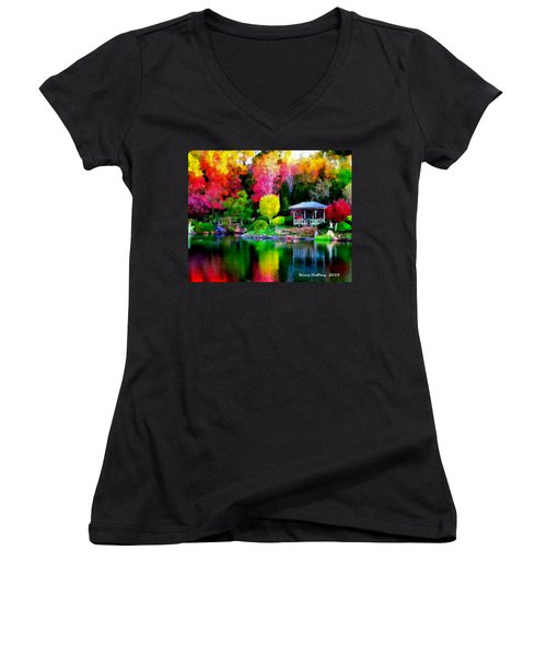 Women's V-Neck T-Shirt (Junior Cut) featuring the painting Colorful Park At The Lake by Bruce Nutting