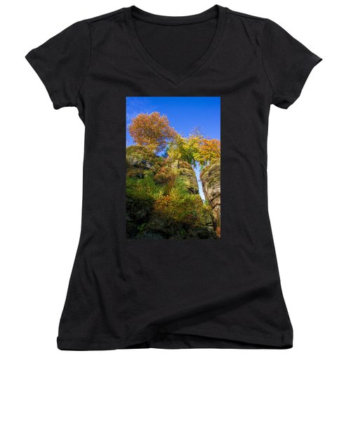 Colorful Trees In The Elbe Sandstone Mountains Women's V-Neck