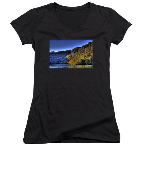 Women's V-Neck T-Shirt (Junior Cut) featuring the photograph Colorful Trees Over A Lake by Jonny D