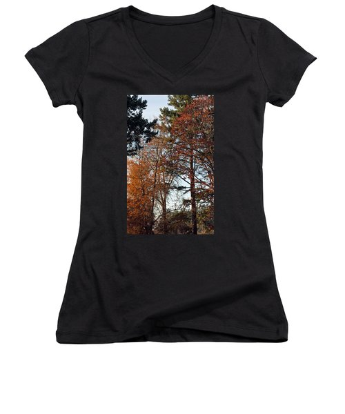 Women's V-Neck T-Shirt (Junior Cut) featuring the photograph Colors Of Autumn by Tikvah's Hope