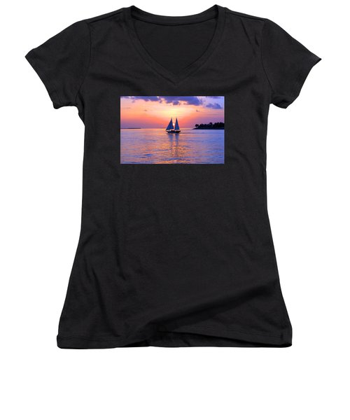 Colors Of Sunset Women's V-Neck T-Shirt (Junior Cut) by Iryna Goodall