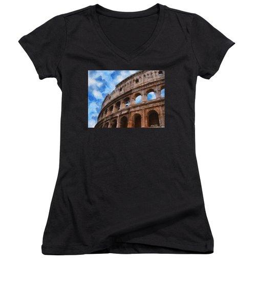 Colosseo Women's V-Neck T-Shirt (Junior Cut) by Jeff Kolker
