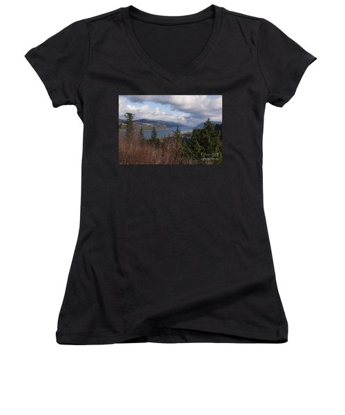 Women's V-Neck T-Shirt (Junior Cut) featuring the photograph Columbia Gorge by Belinda Greb