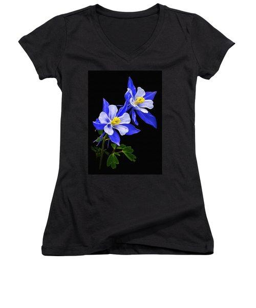 Women's V-Neck T-Shirt (Junior Cut) featuring the photograph Columbine Duet by Priscilla Burgers