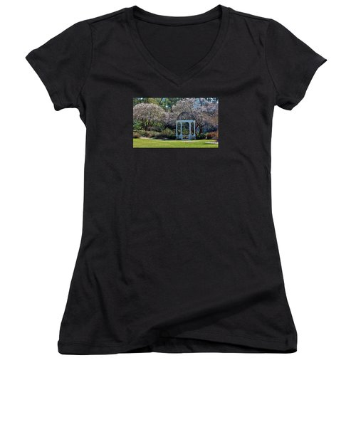 Come Into The Garden Women's V-Neck T-Shirt (Junior Cut) by Cynthia Guinn