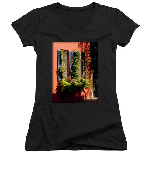 Come To My Window Women's V-Neck T-Shirt (Junior Cut) by Karen Wiles