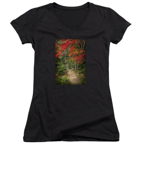 Women's V-Neck T-Shirt (Junior Cut) featuring the photograph Come Walk With Me by Priscilla Burgers