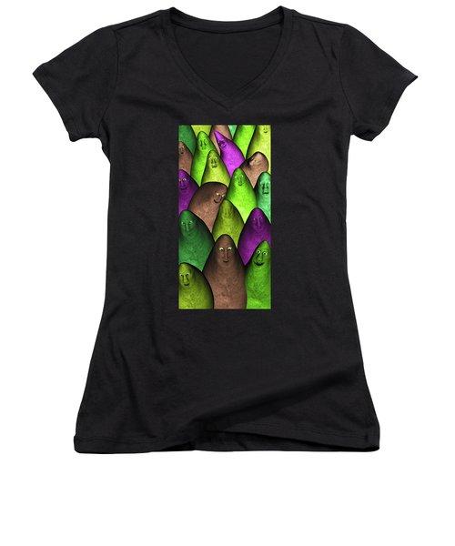 Women's V-Neck T-Shirt (Junior Cut) featuring the digital art Community 2 by Gabiw Art