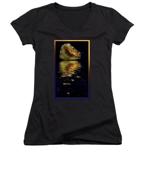 Women's V-Neck T-Shirt (Junior Cut) featuring the photograph Conch Sparkling With Reflection by Peter v Quenter