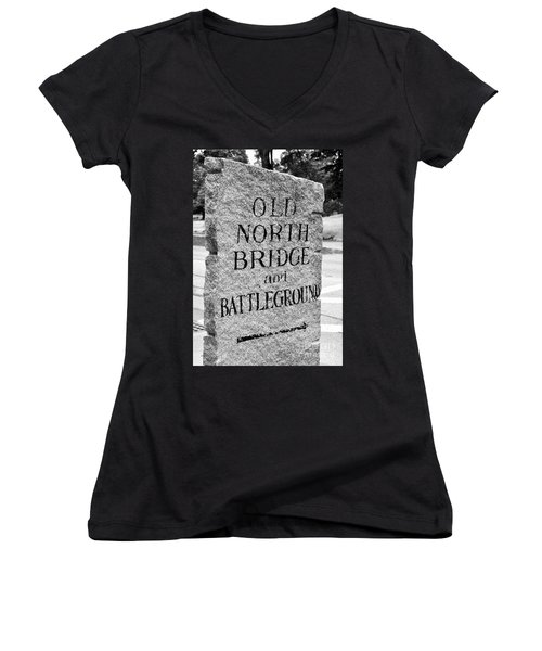 Concord Ma Old North Bridge Marker Black And White Women's V-Neck (Athletic Fit)