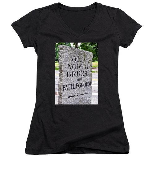 Concord Ma Old North Bridge Marker Women's V-Neck (Athletic Fit)
