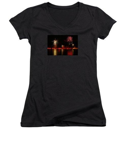 Conesus Ring Of Fire Women's V-Neck T-Shirt (Junior Cut) by Richard Engelbrecht