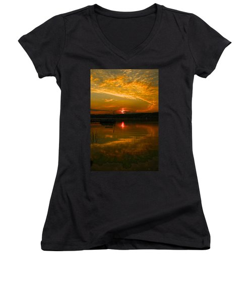 Conesus Sunrise Women's V-Neck T-Shirt