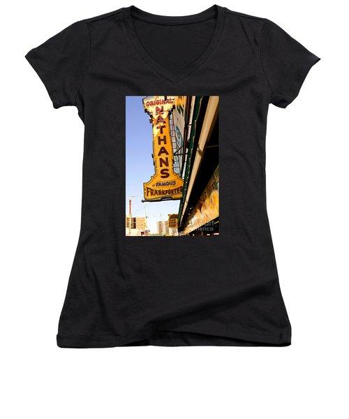 Coney Island Memories 1 Women's V-Neck T-Shirt (Junior Cut) by Madeline Ellis