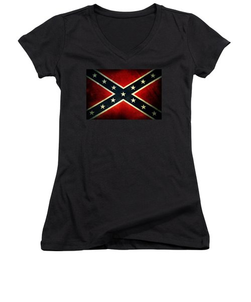 Confederate Flag 4 Women's V-Neck (Athletic Fit)