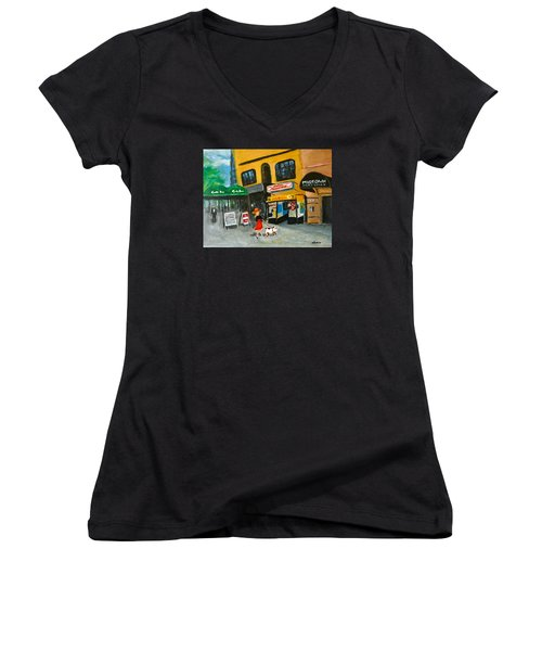Women's V-Neck T-Shirt (Junior Cut) featuring the painting Connecticut Avenue Dc by Victoria Lakes