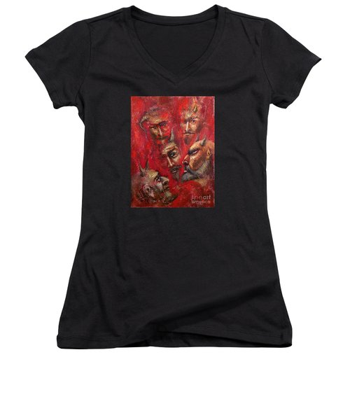 Conspiracy Women's V-Neck T-Shirt (Junior Cut) by Arturas Slapsys
