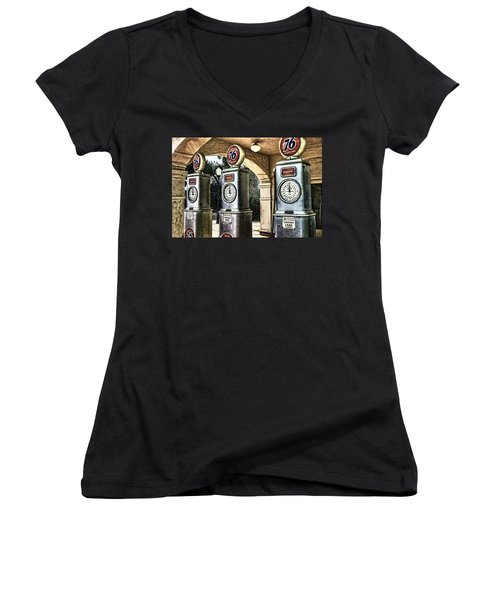 Women's V-Neck T-Shirt (Junior Cut) featuring the painting Contains Lead by Muhie Kanawati