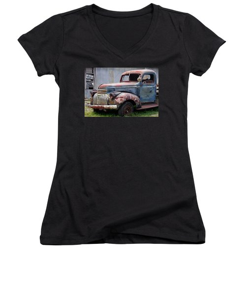 Women's V-Neck T-Shirt (Junior Cut) featuring the photograph Cool Blue Chevy by Steven Bateson