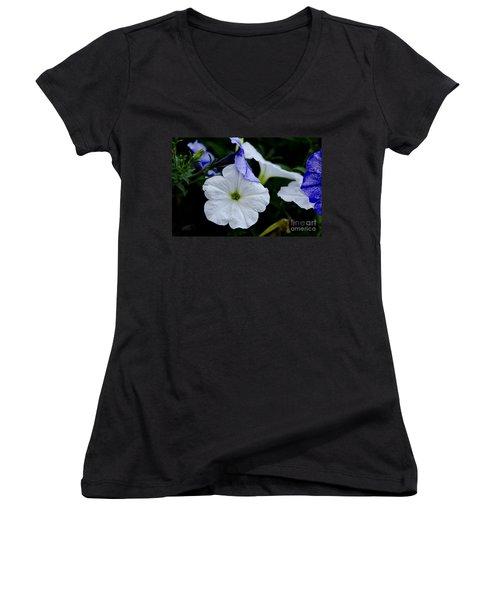 Women's V-Neck T-Shirt (Junior Cut) featuring the photograph Cool Summer Petunias by Wilma  Birdwell