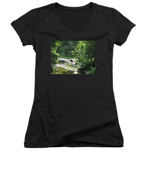 Women's V-Neck T-Shirt (Junior Cut) featuring the photograph Cool Waters II by Ellen Levinson