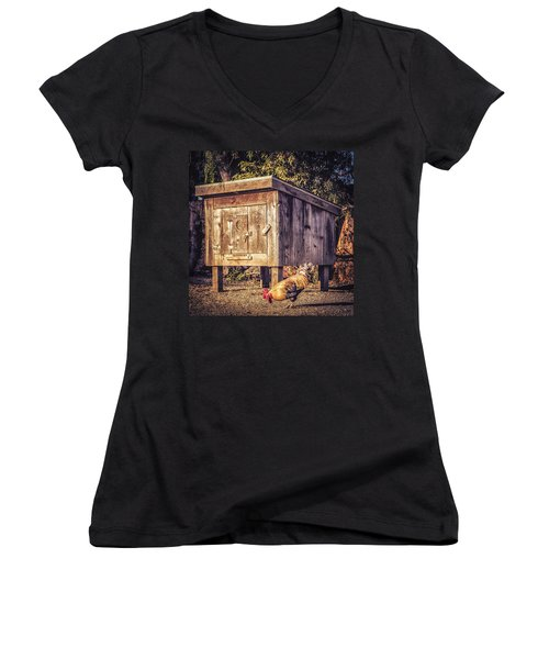 Women's V-Neck T-Shirt (Junior Cut) featuring the photograph Coop by Caitlyn  Grasso